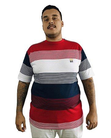 Camiseta Plus Size Masculina Bigmen Vermelha Faixas Brancas e Azuis