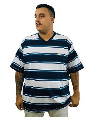Camiseta Plus Size Masculina Bigmen Gola V Azul Listras Azuis e Brancas
