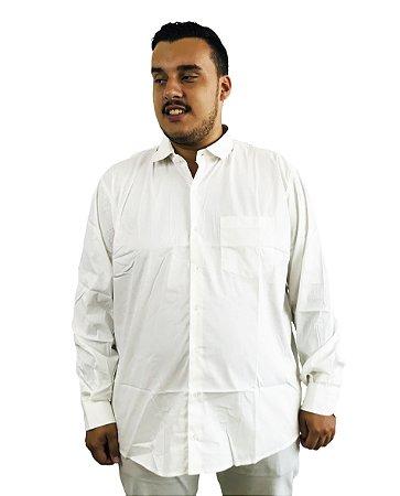 Camisa Social Plus Size Masculina Manga Longa Branca