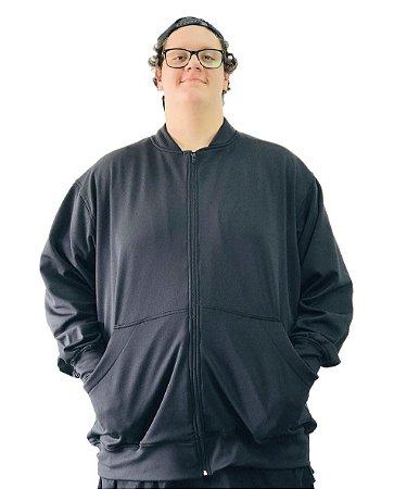 Jaqueta de Moletom Plus Size Masculina Bigmen Preta