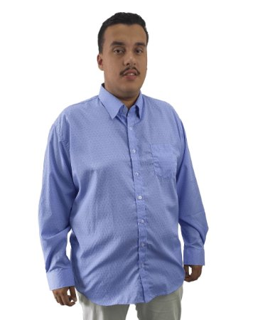 Camisa Social Plus Size Masculina Manga Longa Azul Claro Com Detalhes