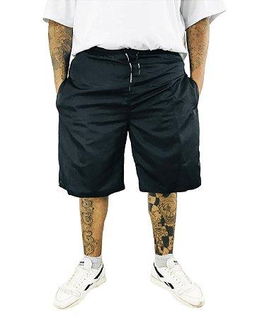 Bermuda Masculina Plus Size Cós Elástico Tactel Volver Preta