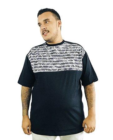Camiseta Plus Size Masculina Listrada Florida Preta