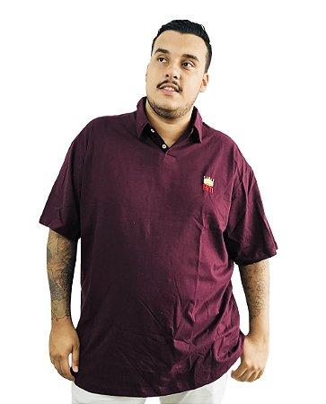 Camisa Polo Plus Size Masculina Bigmen Vinho