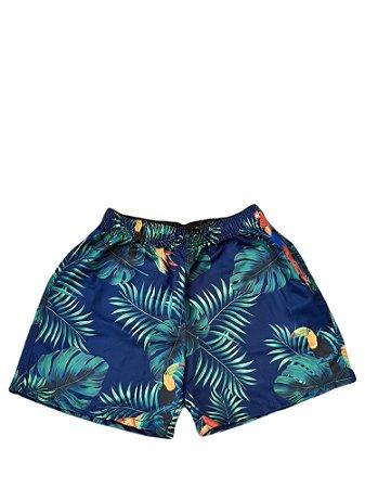 Short Praia Size Masculino Azul Folhas