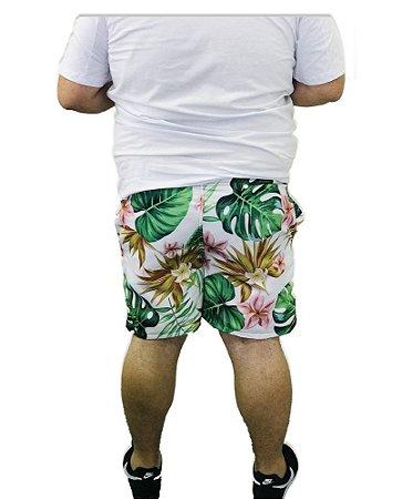 Short Praia Branco Masculino Plus Size