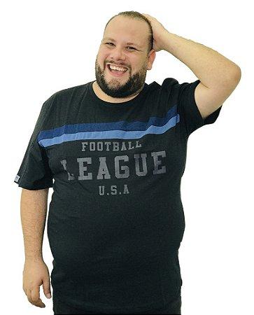 Camiseta Plus Size Masculina Austin Life Football League Preta