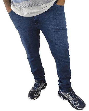 Calça Masculina Plus Size Jeans Skinny Azul Com Lavagem  F08