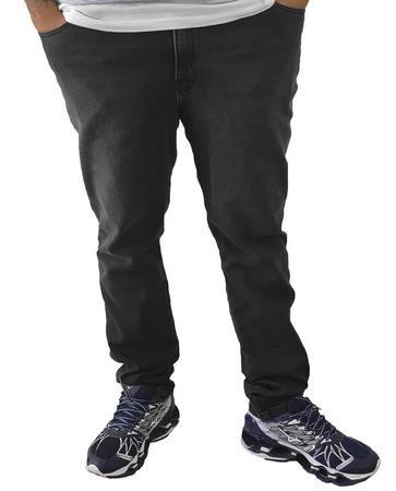 Calça Masculina Plus Size Jeans Skinny Preta Com Lavagem