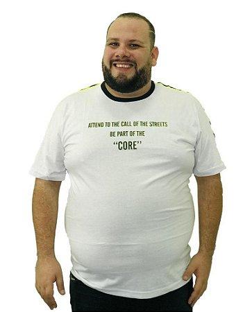 Camiseta Plus Size Masculina Overcore Branca  A08