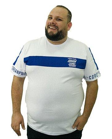 Camiseta Plus Size Masculina Overcore Branca Faixa Azul  A09