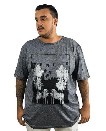 Camiseta Plus Size Masculina Austin Life Venice Cinza  A04