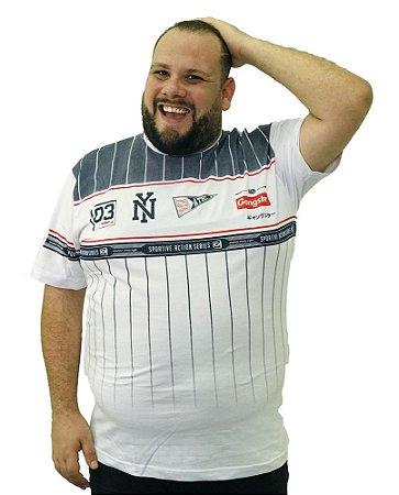 Camiseta Plus Size Masculina Gangster NY Branca