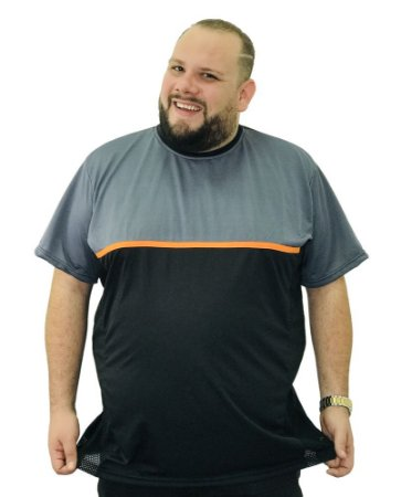Camiseta Plus Size Masculina BigMen DRY Sport Cinza e Preta Listra Laranja B01