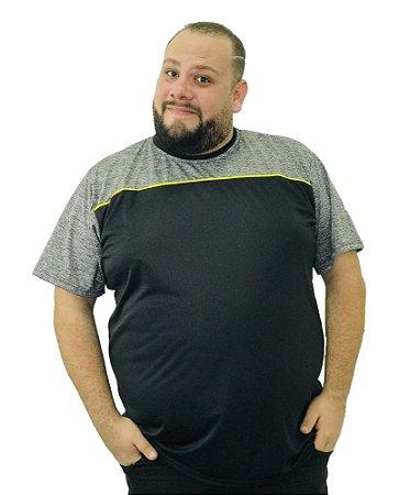 Camiseta Plus Size Masculina BigMen DRY Preta e Cinza  B02