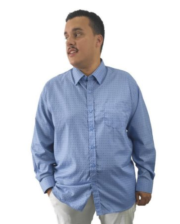 Camisa Social Plus Size Masculina Manga Longa Azul Escuro