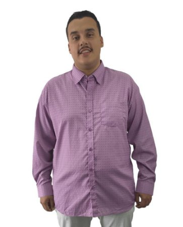Camisa Social Plus Size Masculina Manga Longa Lilás Detalhes  J04