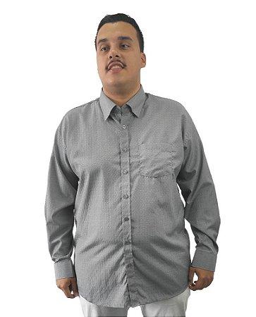Camisa Social Plus Size Masculina Manga Longa Cinza Detalhes