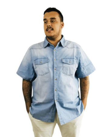 Camisa Jeans Plus Size Masculina Bigmen Azul Claro  J08