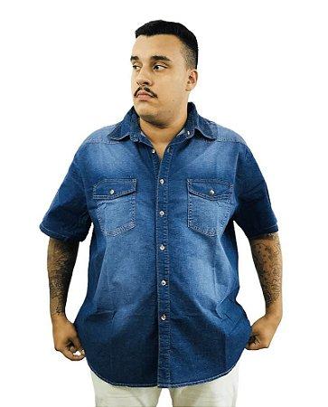 Camisa Jeans Plus Size Masculina Manga Curta Bigmen Azul  J08