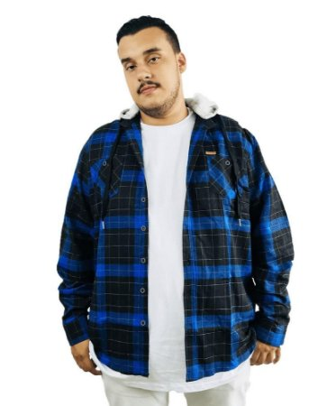 Camisa Plus Size Masculina Gangster Xadrez Azul