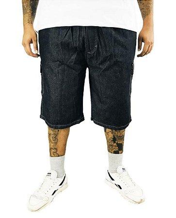Bermuda Masculina Plus Size Cós Elástico Jeans Preta