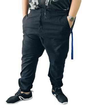 Calça Masculina Plus Size com Elastano Jogger Preta  L06