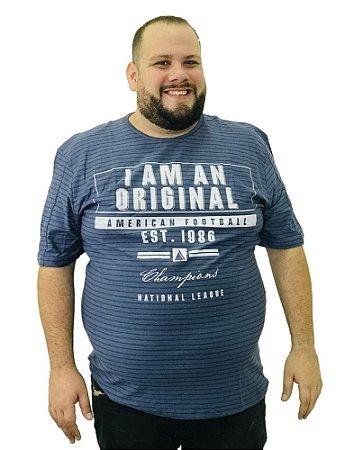 Camiseta Plus Size Masculina Austin Life Original Azul