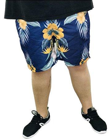 Short Praia Masculino Plus Size Azul e Laranja  I06