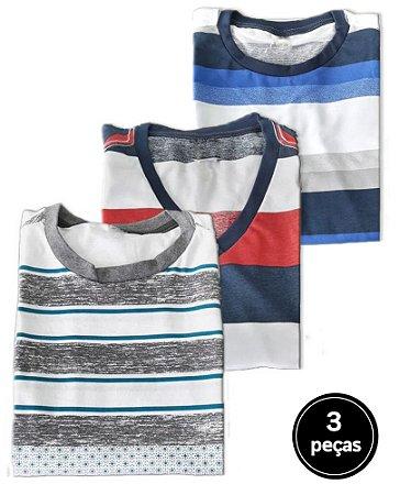 Kit 3 Camisetas Listradas Sortidas Plus Size Masculina B06