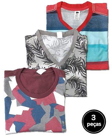 Kit 3 Camisetas Estampadas Plus Size Masculina G5 ao G8