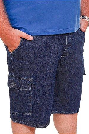Bermuda   Masculina Jeans Azul com Bolsos laterais