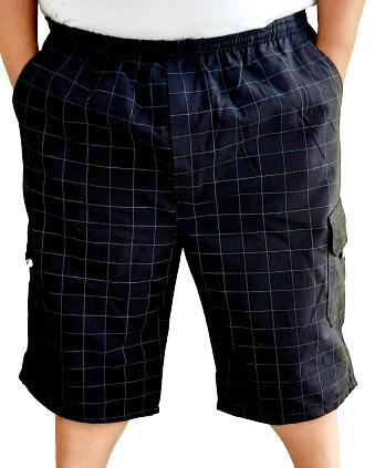 Bermuda Elástico Masculina Plus Size  Xadrez Preta Bigmen