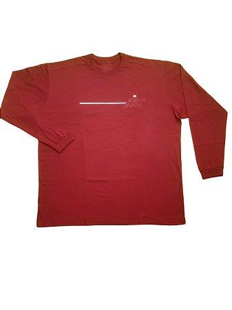 Camiseta Plus Size Masculina Manga Longa Básica Vermelha Detalhes