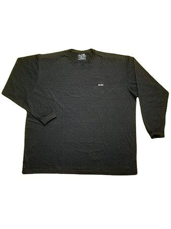 Camiseta Plus Size Manga Longa Algodão Cinza Escuro Destalhes