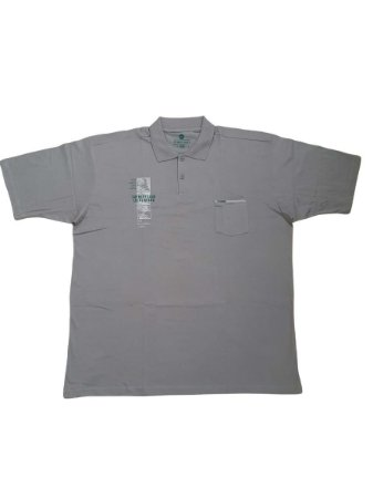 Camisa Polo Masculina Plus Size Piquet Kairon Com Bolso Cinza Claro Detalhes
