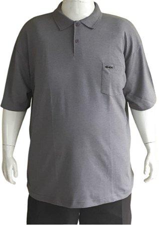 Camisa Polo Masculina Plus Size Piquet Kairon Com Bolso Cinza Escuro