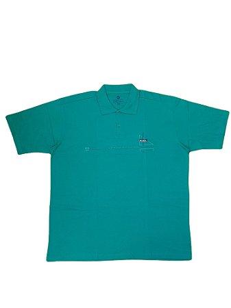 Camisa Polo Masculina Plus Size Kairon Algodão Verde Clara Detalhes