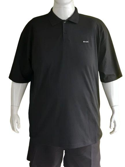 Camisa Polo Masculina Plus Size Piquet Preta Bigmen