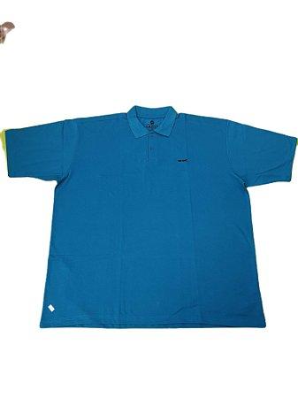 Camisa Polo Masculina Plus Size Piquet Azul Petroleo