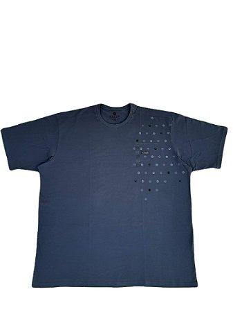 Camiseta Plus size Masculina Algodão Kairon Cinza Escura Detalhes