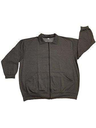 Jaqueta de Moleton Plus Size Masculina Bigmen Cinza