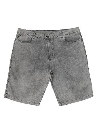 Bermuda Jeans Elástano Masculina Plus  Preta Estonada