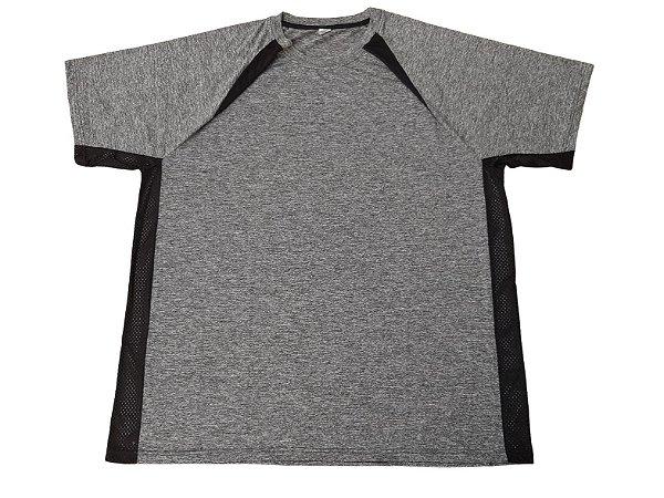 Camiseta Plus Size Masculina Bigmen Dry Sport Cinza Detalhes