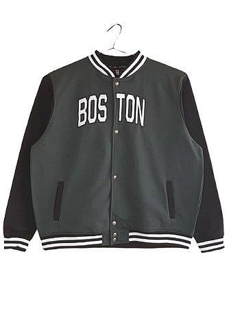 Blusa Plus Size Masculina Moletom Boston Verde Detalhes