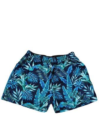Short Praia Masculino Plus Size Folhas