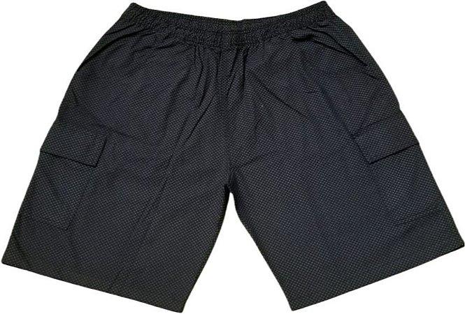 Bermuda Elástico Sarja Bolsos Laterais Masculina Plus Size