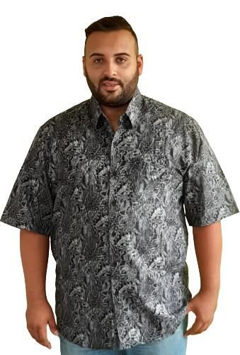 Camisa Estampada escura  Algodão Masculina Plus Size Bigmen