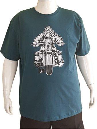 Camiseta Plus Size  Series Images Azul  moto Bigmen
