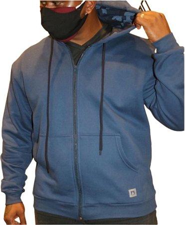 Blusa Plus Size Masculina Moletom azul Bigmen